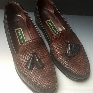 Cole Haan woven tassel loafers black mahogan…